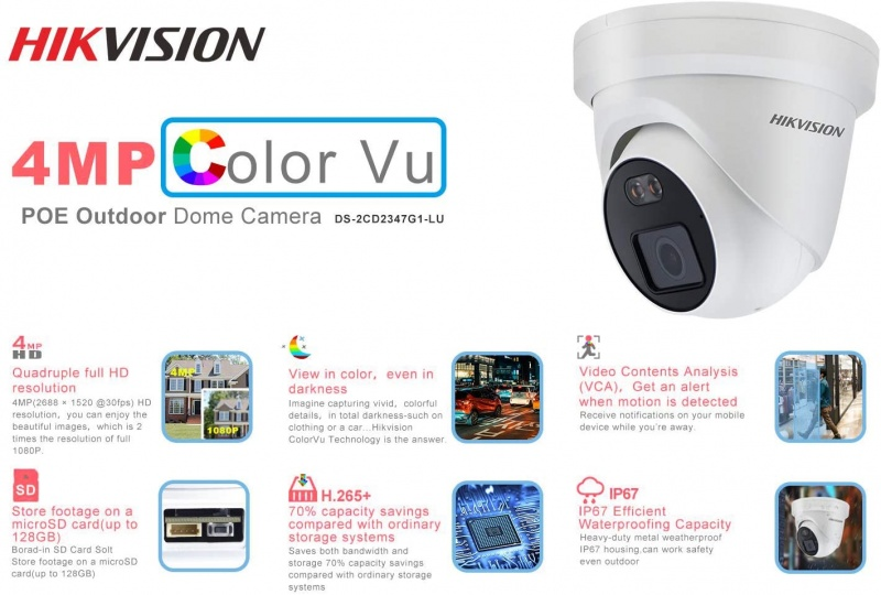 4MP IP Dome 2.8mm Color VU DS-2CD2347GI-LU With Microphone